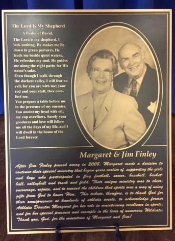 Finley's plaque